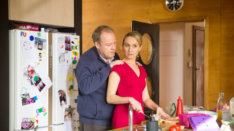 Peter Helliar and Lisa McCune bounce evenly off each other in <I>How to Stay Married</I>.