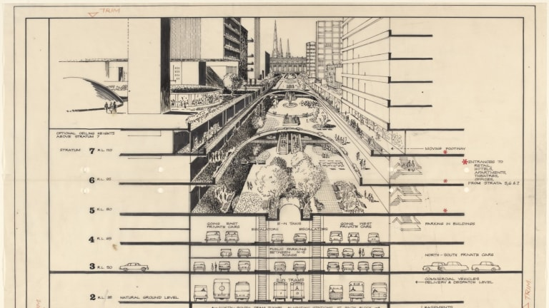 Age News Clay Lucas story 11/5/2016 A history of future images of Melbourne. Supplied artists impressions. Future Melbourne, 08 Robin Boyd (Romberg and Boyd), Bourke Street Development, 1965, State Library Victoria, courtesy of Robin Boyd Foundation and Diane Masters