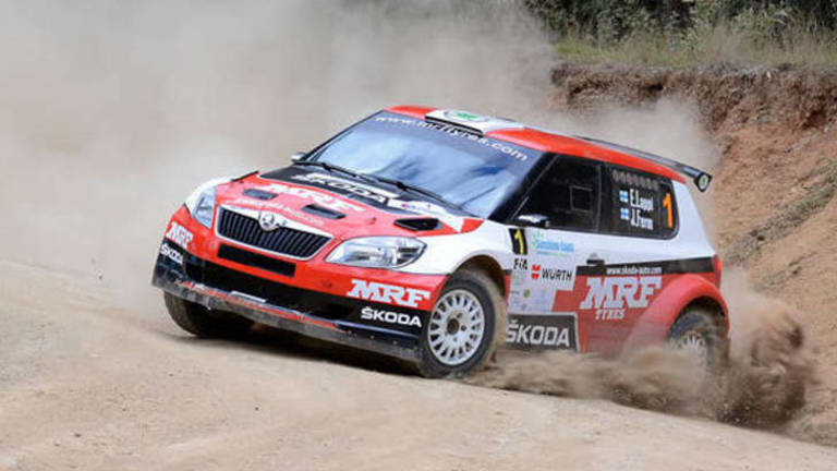 Action from the International rally of Queensland on Sunday, prior to a fatal accident.