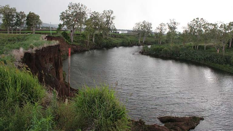 An eroded creek bank near Clarendon.