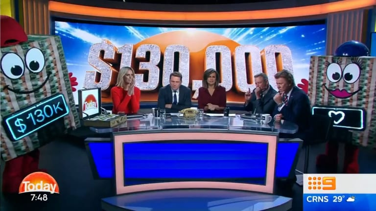 Today show has been forced to defend a $130,000 block of cash giveaway.