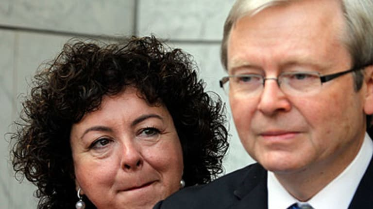 Kevin Rudd addresses the media after his leadership defeat.