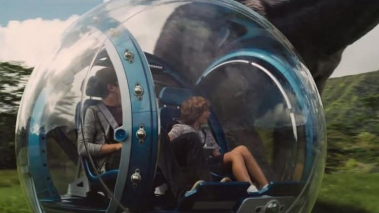 Boys in a bubble: Zach and Gray get up close to the prehistoric action.