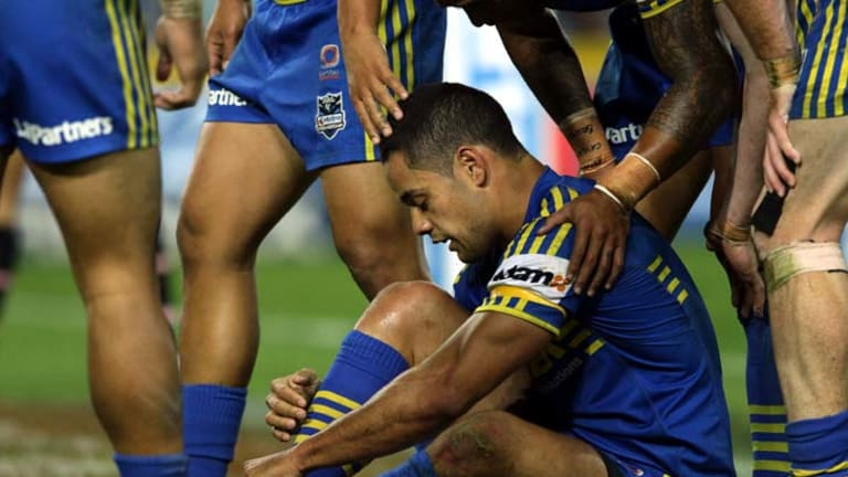 Down and out … Jarryd Hayne.