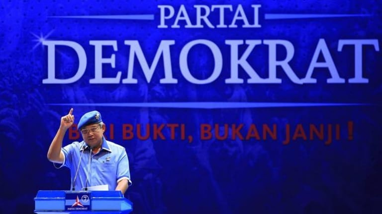 Rally speech: Indonesian President Susilo Bambang Yudhoyono and head of the Democratic Party gives a speech during the presidential campaign this year.