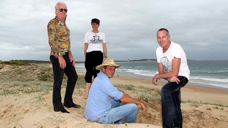 Life after puberty ... from left, Tony Hughes, Nell Schofield, Geoff Rhoe and Jay Hackett reunite on Wanda Beach.