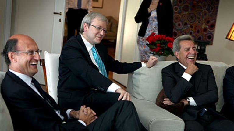 All roads lead to Rome ... the Prime Minister, Kevin Rudd, holds a meeting with Italian business leaders in their country's capital.