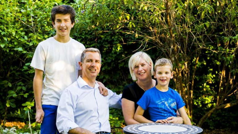 ACT Liberals Leader, Jeremy Hanson at home in Holder with his family, Robbie (6), William (14), and Fleur.