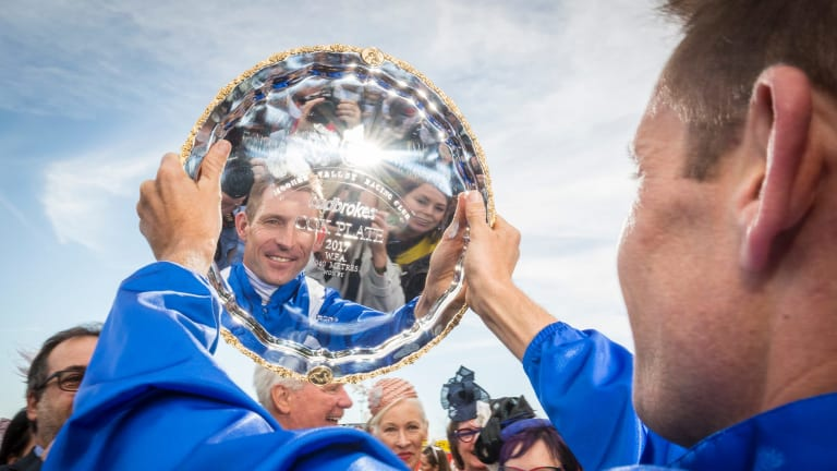 Hugh Bowman after leading Winx to her third Cox Plate at Moonee Valley.