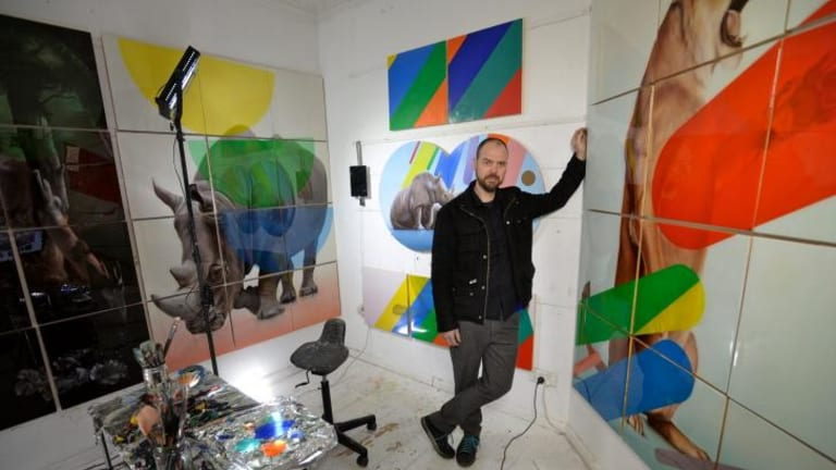 Sam Leach, pictured in his Brunswick studio, supports art fairs despite reservations.