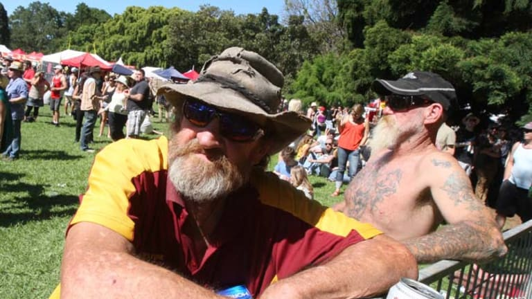 ''Classic edition'' … rock lover Jim Wyburn at The Domain yesterday.
