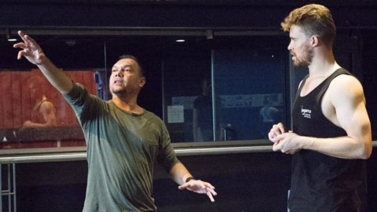 Choreographer Stephen Page and dancer Thomas Greenfield (William Dawes),  working on Bangarra's Patyegarang.