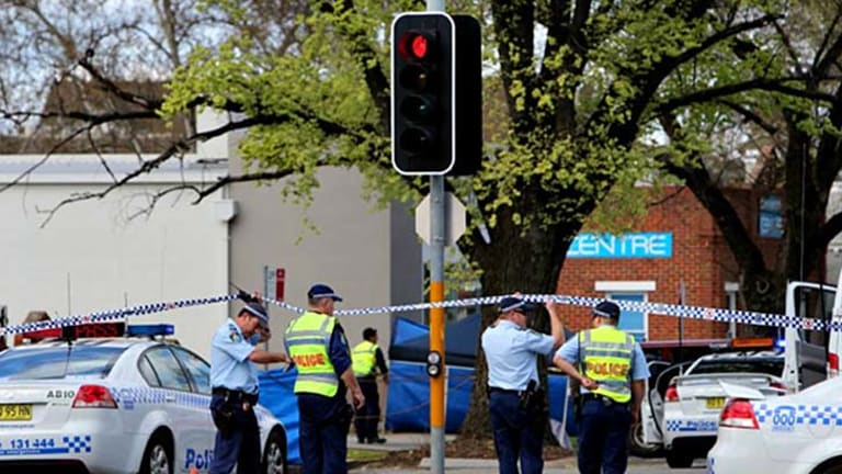 Police have established a crime scene where a young cyclist was hit and killed in Wilson Street, Albury today.