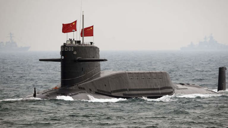 A People's Liberation Army Navy submarine off Qingdao, China, on Thursday, April 23, 2009.