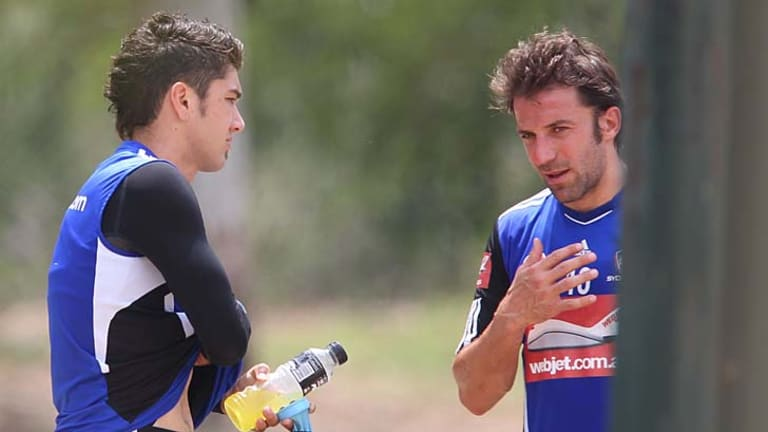 Parting advice … Dimitri Petratos, left, chats with Alessandro Del Piero before leaving Sydney FC for Malaysia.