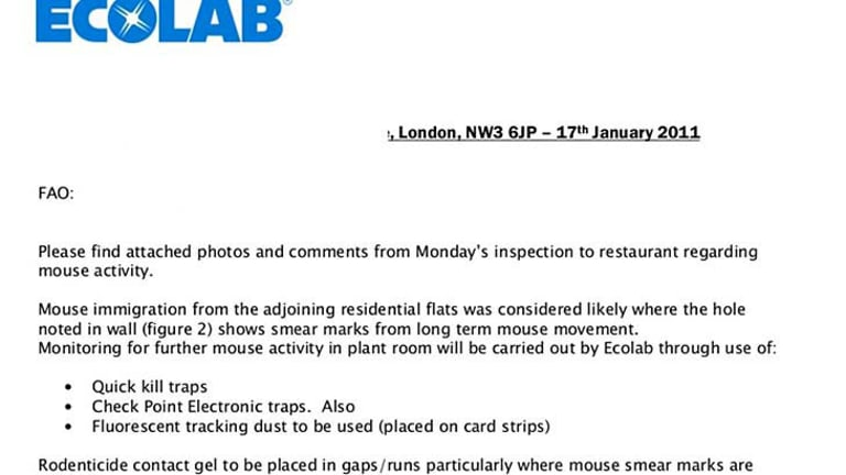 """ECOLAB reports on the current status of a """"very popular restaurant"""" and the issues they are having with mice."""