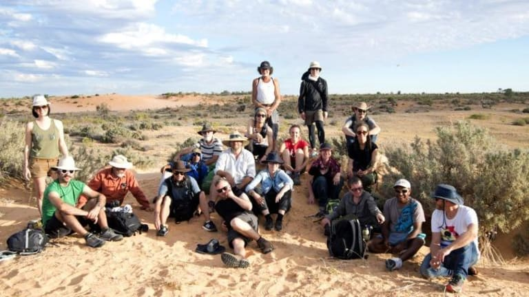 Participants in the Unmapping the End of the World project gather at Mungo National Park.