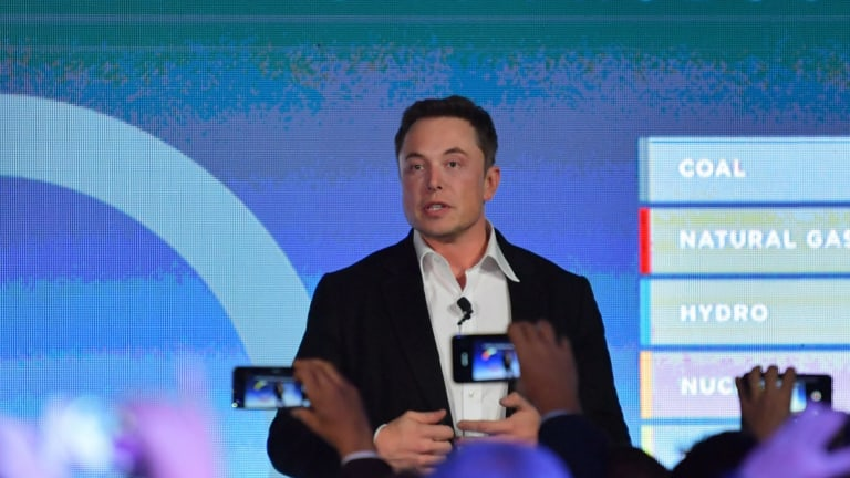 CEO of Tesla, Elon Musk is seen delivering speech at the wind and solar battery plant outside of Jamestown, South Australia, on Friday.