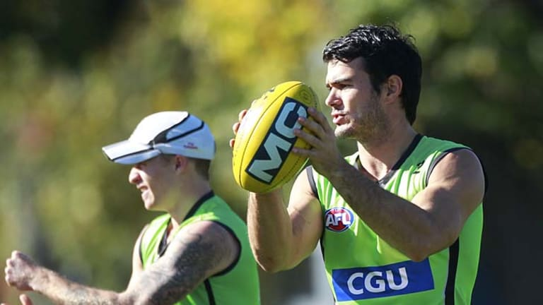 Collingwood defender Chris Tarrant during a training session at Gosch's Paddock.