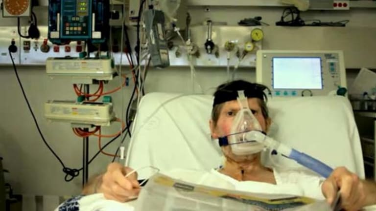 """""""An ideal location""""... Ron Coker as he was filmed in a recovery ward after heart surgery."""