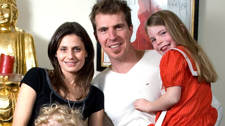 Family man ... Jim Stynes leaves behind wife Sam, son Tiernan and daughter Matisse.