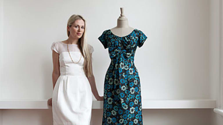Clare Press with one of Maureen Ryan's vintage dresses.
