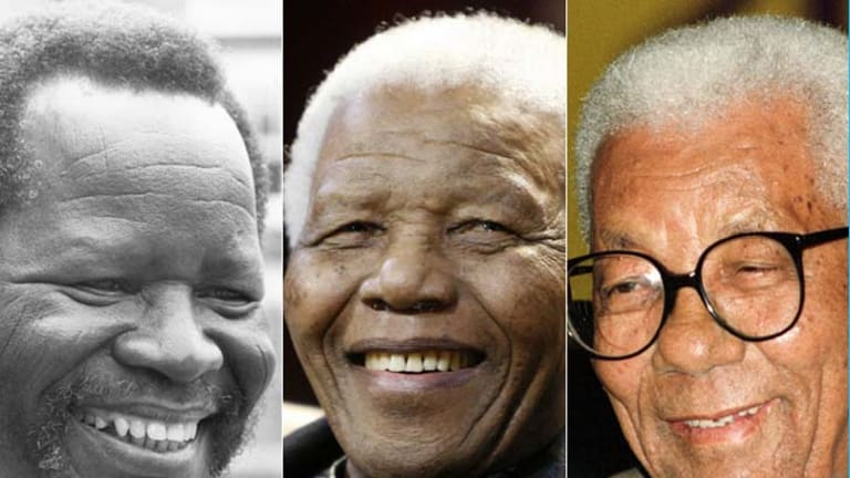 Lionising heroes … from left, Oliver Tambo, Nelson Mandela and Walter Sisulu.