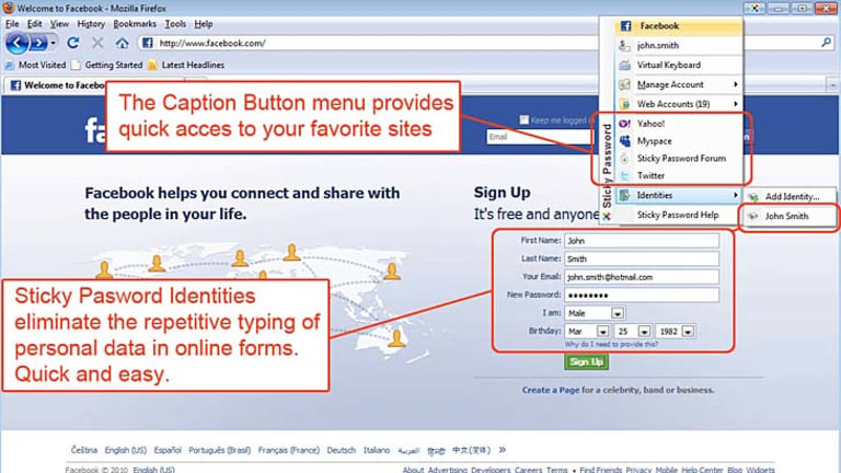 A screenshot of Sticky Password in action.