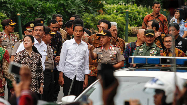 Indonesia President, Joko Widodo visits the blast site.