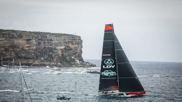 LDV Comanche crosses Sydney Heads after the start of the 2017 Sydney to Hobart Yacht Race.