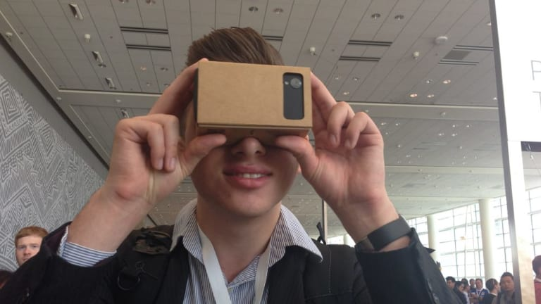 Cardboard connects to an Android phone to enable a virtual reality experience.