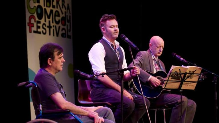 THEY'RE BACK: Doug Anthony All Stars Tim Ferguson and Paul McDermott with guest Paul Livingston, opened this year's Canberra Comedy Festival.