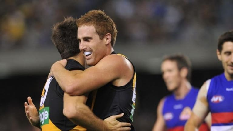 Welcome back mate: Daniel Jackson was pleased with the effort of captain Trent Cotchin in bouncing back to form.