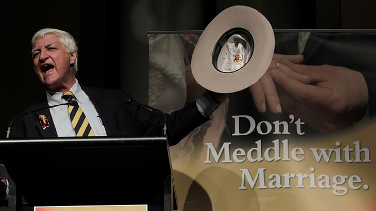 """Independent MP Bob Katter auctioned his hat at the  """"Don't meddle with marriage"""" rally at Parliament House in  Canberra  for $2700."""