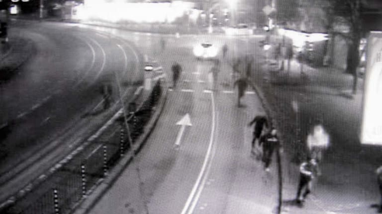Fateful night … traffic surveillance footage of Andrei Monov's group chasing two Gypsies in the Bulgarian capital, Sofia, in late 2007.
