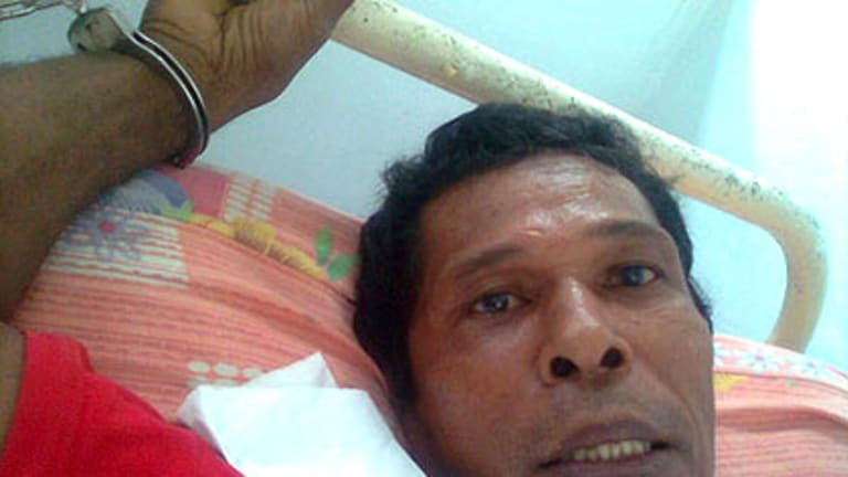 Mulukan protester Yonias Siahaya, who says Detachment 88 forces beat and tortured him.