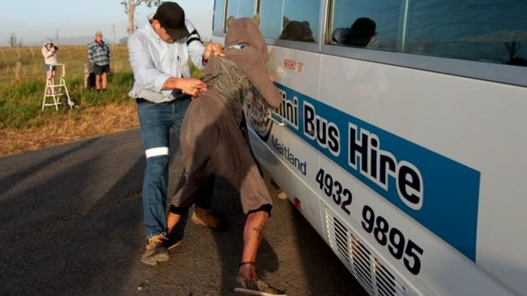 Two charged as protests turn ugly: A scuffle at the scene of the anti-fracking protest in Gloucester, NSW.