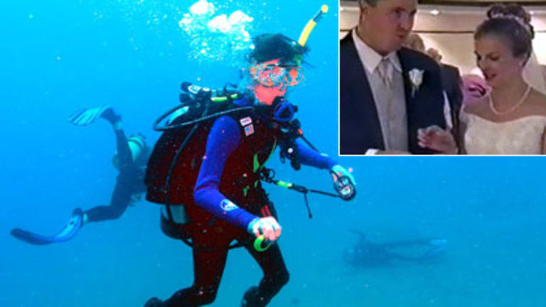 A photograph of Tina Watson lying on the seafloor and an instructor going to her rescue. Inset: Gabe and Tina Watson on their wedding day.