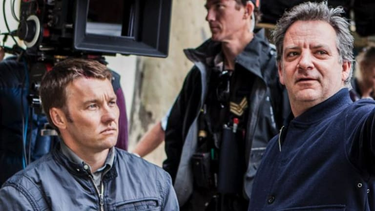 Actor Joel Edgerton and director Matthew Saville on the set of <i>Felony</i>.