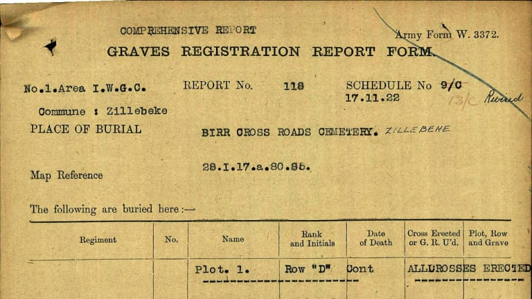 War records used to identify the final resting places of Henry Huntsman and Charles Eacott, who died in a shell attack in Belgium in 1917.