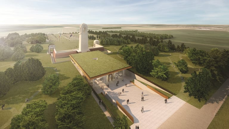 An artists impression of the  Sir John Monash Centre, France which sits behind the Australian National Memorial.
