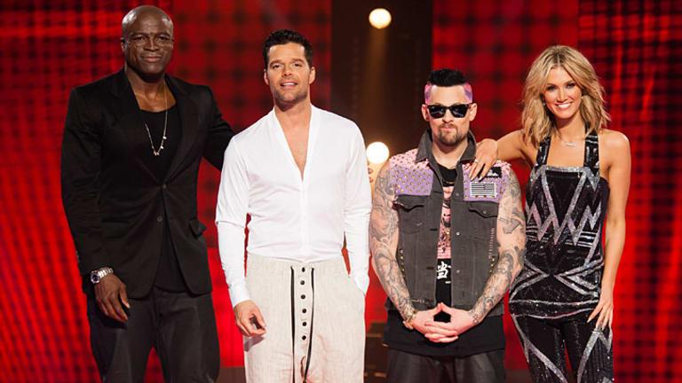 <i>The Voice</i> 2013 coaching panel: Seal, Ricky Martin, Joel Madden and Delta Goodrem.