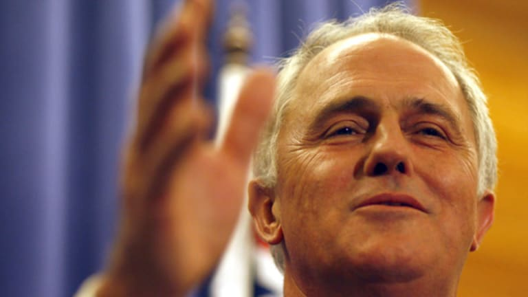 Opposition Leader Malcolm Turnbull at Parliament House yesterday.