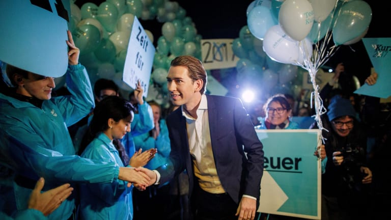Sebastian Kurz, Austria's foreign minister and leader of the People's Party arrives for a TV debate in Vienna on Tuesday.