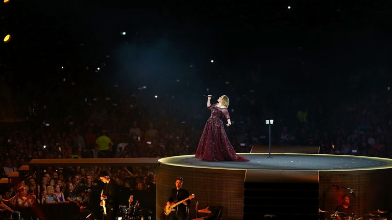 Adele on stage for the first show of her Australian tour.