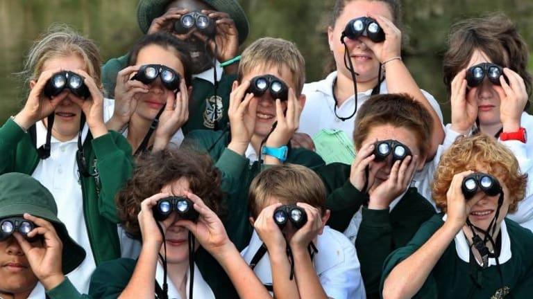 Students bird watching in the Hunter region.