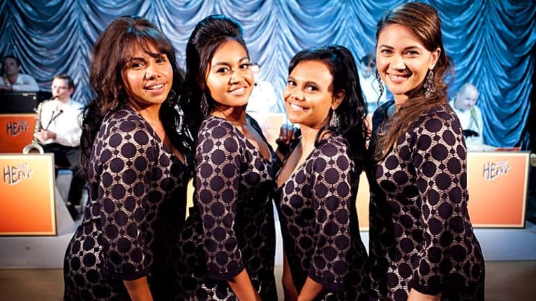 Singing sensations … (from left) Deborah Mailman, Jessica Mauboy, Miranda Tapsell and Shari Sebbens star in <i>The Sapphires</i>.