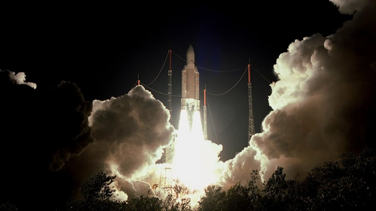 The European Ariane-5 rocket blasts off from French Guiana and launches a satellite to provide high-speed internet access to remote parts of Canada, late July 17, 2004. Scheduled for launch July 12, 2004, the mission was called off three times when technical and weather problems halted countdown. Picture taken July 17, 2004.   REUTERS/CNES-ESA-ARIANESPACE-POOL