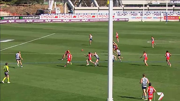 Works can be seen in the background during the last game at Simonds Stadium in 2012.