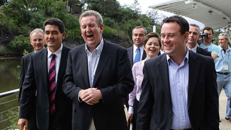 The morning after the night before ... premier-elect Barry O'Farrell with the Liberals' victorious western Sydney MPs at Parramatta's ferry wharf. (From left) Kevin Conolly (Riverstone), Geoff Lee (Parramatta), Jai Rowell (Wollondilly), Tanya Davies (Mulgoa),  Stuart Ayres (Penrith) and Chris Patterson (Camden). March 27, 2011.